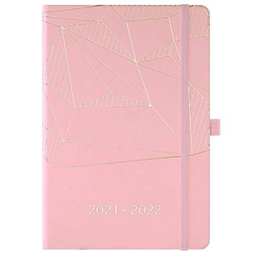 Agenda 2021 - Agenda A5 semanal y mensual, de enero de 2021 a diciembre de 2021, con portalápices, bolsillo interior, bandas, tapa dura de primera calidad, 14,6 * 21,4 cm, rosa