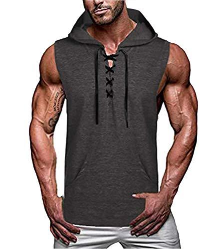 Onsoyours Herren Tank Top Kapuze Tankshirt Ärmellos Bodybuilding Shirt Unterhemd T-Shirt Hoodie Muskelshirt Achselshirt Trägershirt für Gym Training B Grau L