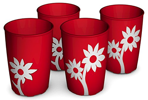 Ornamin Becher mit Anti-Rutsch Blume 220 ml rot/weiß 4er-Set (Modell 820) / Trinkbecher, Pflege-Becher, Kinderbecher