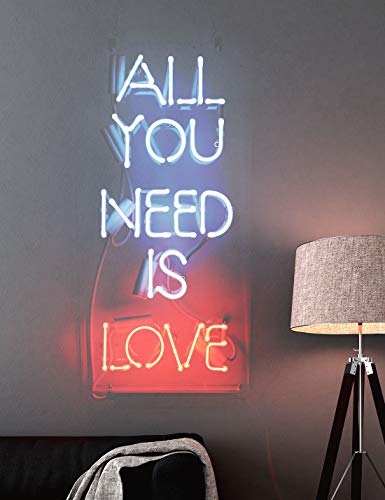 Neon Sign All You Need is Love, Neon Light Sign with Real Neon Glass, Cool Wall Hanging Light for Bedroom, Neon Light Sign with Inspiring Words, Decorative Light for Room Decor, Holidays, Or Events