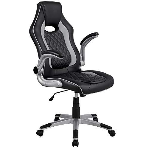 Yaheetech Gamingstuhl Schreibtischstuhl Racing Chair Sportsitz, hochklappbare Armlehnen, Wippfunktion, High Back Chefsessel Kunstleder