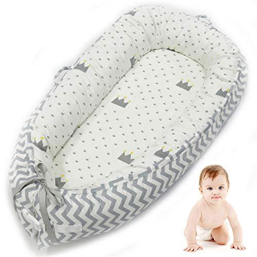 Réducteur de Lit Bébé Cocon Portable 50 * 80cm Coussin Bébé Baby Nest pour Nouveau-né 100% Coton Nid de Lit Bébé Tour de Lit (Gris clair)