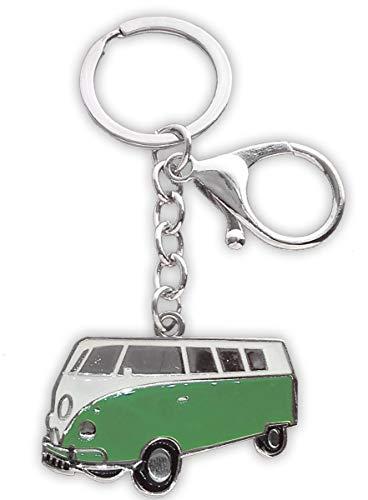 Rickenbacker's Camper Van Side View Sleutelhanger met Extra Karabijnhaak Clip M Groen