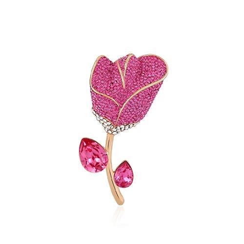 Pin Broche Broche de la flor de Rose, accesorios de corsos de la moda de las señoras Pin del traje, hermoso broche de la flor de rosa, para el regalo de cumpleaños para la esposa Solapa Broche