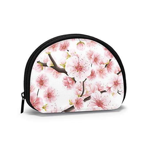 Rosa Kirschblüten oder japanische blühende Kirschen symbolisieren Frühlingsfrauen-Mädchen-Muschel-Kosmetik-Make-up-Aufbewahrungstasche Outdoor-Einkaufsmünzen Wallet Organizer