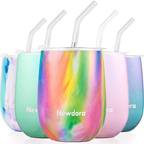 Newdora 12 OZ Edelstahl Weinglas Becher Auslaufsicher Doppelwandiger vakuumisolierter Bulk Weinbecher mit Deckel Perfekt für Kaffee, Wein, Cocktails, Getränke, 380 ml, BPA Frei