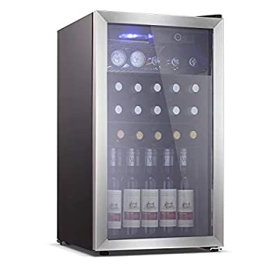 Electactic 26 Bottle Wine Cooler/Cabinet Mini Wine Fridges 130 Can Beverage Refrigerators Small Wine Refrigerator Freestanding Wine Cellar for Red & White Wine Beer 40-61? Temperature Control Black
