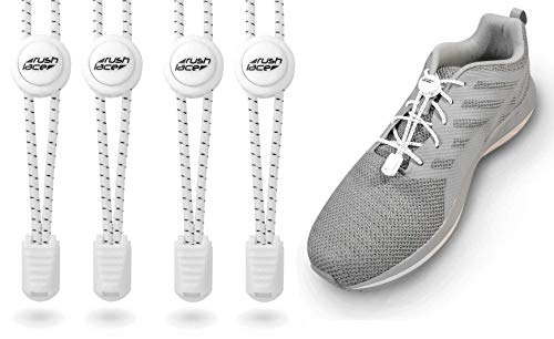 Rush Lace - Elastische Schnürsenkel mit Schnellverschluss - Schnellschnürsystem für einen idealen Sitz und perfekten Halt - für Erwachsene und Kinder geeignet - ohne Schuhe binden! (Weiß, 2 Paar)
