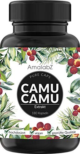 Camu-Camu Kapseln - Natürliches Vitamin C - 180 vegane Kapseln für 6 Monate - hergestellt und Laborgeprüft in Deutschland, ohne unerwünschte Zusätze