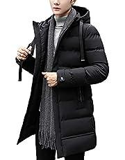 [MISHOW]メンズ 中綿コート マウンテンジャケット アウター 春服 ロング丈 フード付き 無地 S~XXL 3色選べ