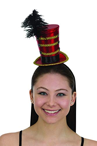 Circus Ringmaster Majorette Mini Cocktail Top Hat w Feather Costume Accessory