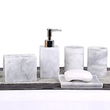 5pcs Bathroom Accessory Set - Tumbler, Soap Dish, Liquid Soap Dispenser, Toothbrush Holder,Grey