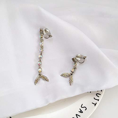Chwewxi Temperament schöne Diamant-verkrustete Funkelnde Ohrringe Mode vielseitig Metall Textur Alltag tragen asymmetrische Ohrclips, EIN Paar Ohrclips