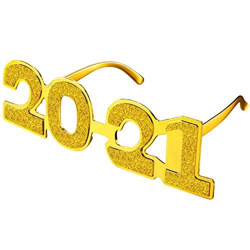 Skylety Occhiali da Vista 2021 Glitter Occhiali novità Oro 2021 Numero Occhiali Capodanno Divertente Occhiali per 2021 Bomboniere per Feste di Capodanno Forniture per Costumi per Feste di Laurea