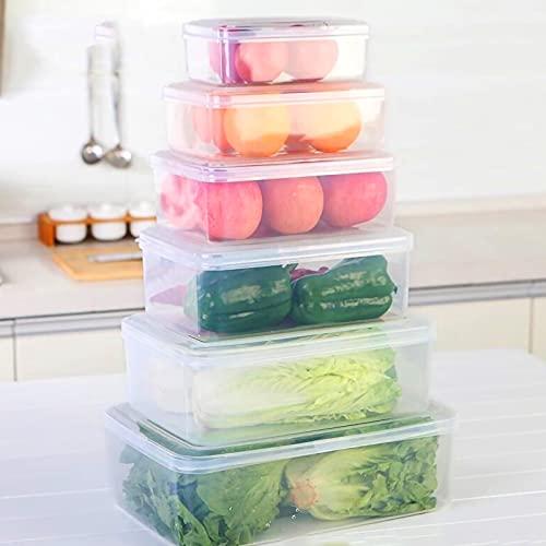 Congelador Organizador De Almacenamiento 6 Pcs, Frigorífico Organizador De Alimentos Con Tapas, Apilable Contenedores De Almacenamiento