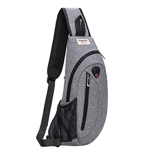MOSISO Crossbody Sling Backpack, Hiking Daypack Chest Bag Vertical Zipper, Gray