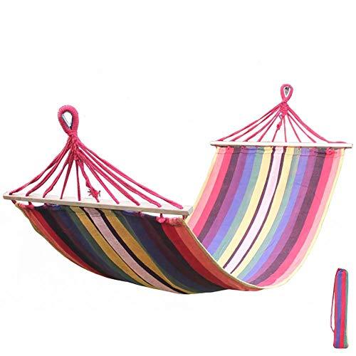 SHARESUN Outdoor camping hangmat met standaard, volwassen 1-2 persoon canvas rollover schommelbed, rug draagbare hangmat, kinderen, reizen, tuin, aan zee, binnen, 200 * 80cm