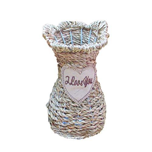 JIESD-Z Hochgewebte Vase aus reinem handgefertigtem Holz und Gras, Bodenvase, Blume, Rattan, Aufbewahrungskörbe für Hochzeiten, Heimpartys