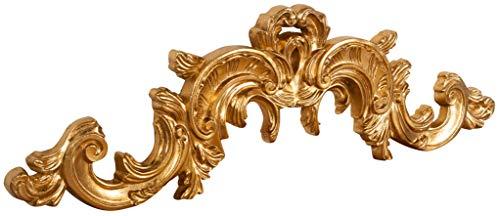 Biscottini Sopraporta Fregio Mensola Decoro Decori da Parete in Legno Finitura foglia oro Anticato L 90 x PR 3 x H 27 cm Made in Italy