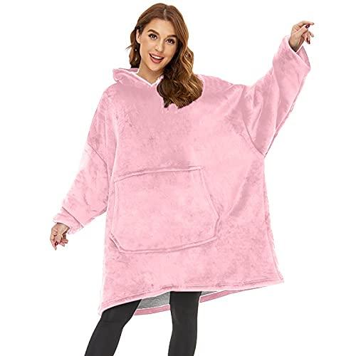 Manta con capucha, de gran tamaño, súper suave, cálida, cómoda, gigante, compatible con todos los hombres, mujeres y adolescentes, rosa, Talla única