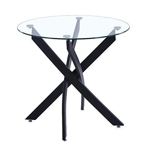 GOLDFAN Rund Esstisch aus Glas Moderner Küchentisch Runder 80cm Glas Tisch für Esszimmer Wohnzimmer, Schwarz