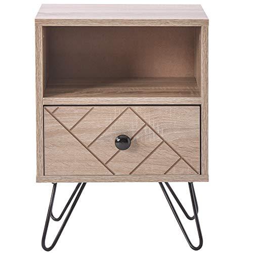 Comodino a 2 ripiani in legno di quercia, moderno comodino con cassetto e mensole, armadio laterale per camera da letto con maniglie in metallo e guide per piccoli spazi