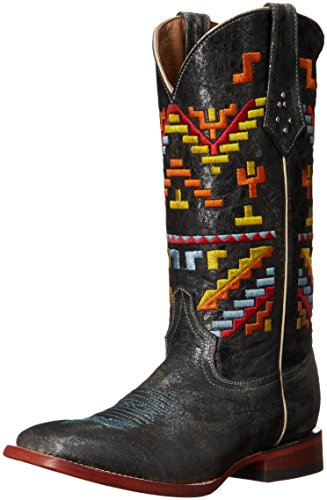 Ferrini Women's Ladies Aztec Cowgirl Teal Square Toe Western Boot, 8 B US