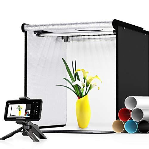 Photo Studio Light Box, SAMTIAN 16''/40CM Light Box Photography with 2 Bi-Color Adjustable Brightness and 6 PVC Backgrounds Portable Folding Table Top Shooting Tent