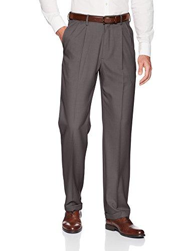 Haggar Men's Premium Comfort Classic Fit Pleat Expandable Waist Pant, Medium Grey, 36Wx32L