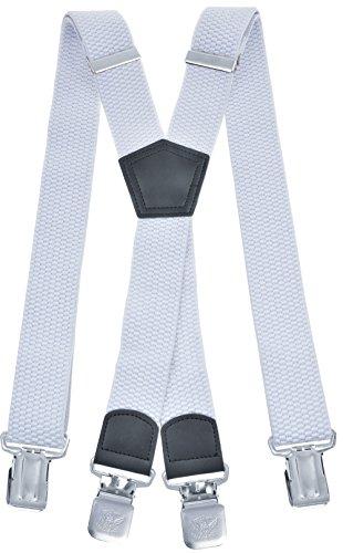 Miobo - Bretelle a X, unisex, super resistenti, 4 clip inclusi, larghezza 4 cm X weiß Taglia unica