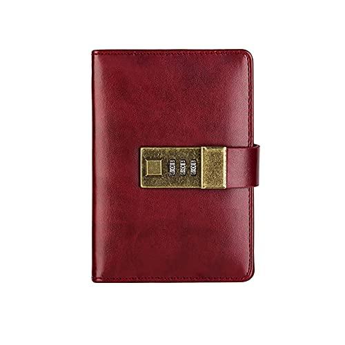 Lvbeis Cuaderno Bloc de Notas con Código de Bloqueo Retro y Simple Mini Cuaderno de Bolsillo Portátil Fácil de Escribir Papel Grueso No Es Fácil de Filtrar,Red