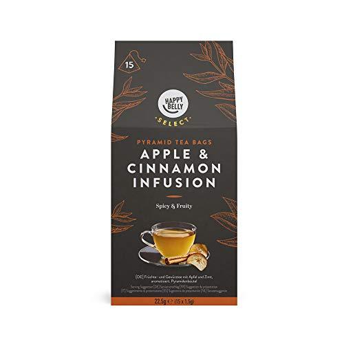Marca Amazon - Happy Belly Select - Bolsitas de te de hierbas selecto con manzana y canela, 4x15 piramides