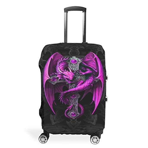 Purple Dragon and Cross Travel Luggage Cover Spandex Suitcase Protector Washable Baggage Covers White l (66x96cm)