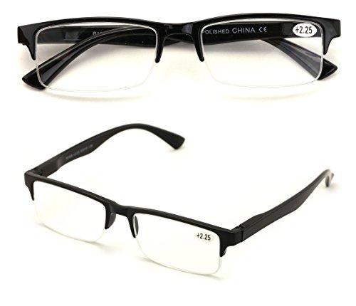 2 Pairs Rectangular Half Rim Reading Glasses - Simple Classic Reader (Black, 2.00)