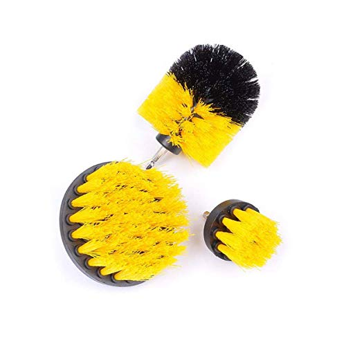 Drill Brush Set Scrubber Brushs, 3Pieces Cleaning Kit Cleaner for Bathroom Surfaces Wooden Floors Tiles Corners Cars (Golden)