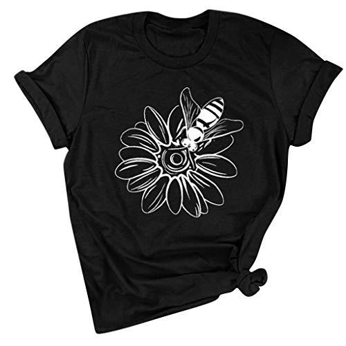 KIMODO Damen Good T-Shirt Regenbogen Muster Shirt Rundhals Kurzarm Oberteile Hemd Tops Bluse Sommer Oberteile Oben Hemd Grafik Drucken Oberteile Tee (Schwarz-E, XL)
