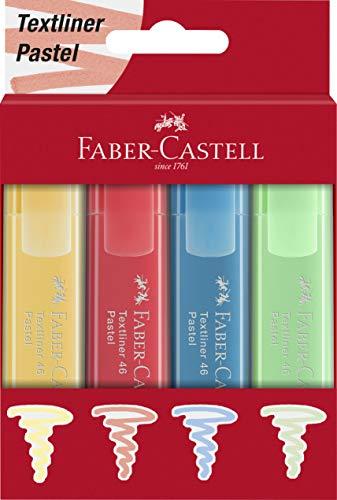 Faber-Castell 254624 - Textmarker 46, Pastel Farben, 4er Set