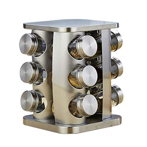 12-Jar Revolving Countertop Spice Rack Organizer Tower Round Stainless Steel Seasoning Storage Organization Spice Jars,Silver