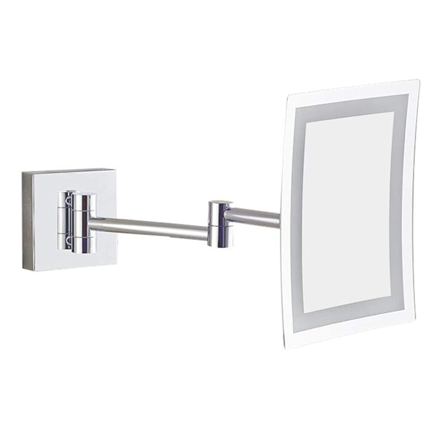彼気晴らし収穫HUYYA シェービングミラー LEDライト付き 壁付、バスルームメイクアップミラー 3 倍拡大鏡 バニティミラー正方形化粧鏡 寝室や浴室に適しています,Silver_Hardwired connection