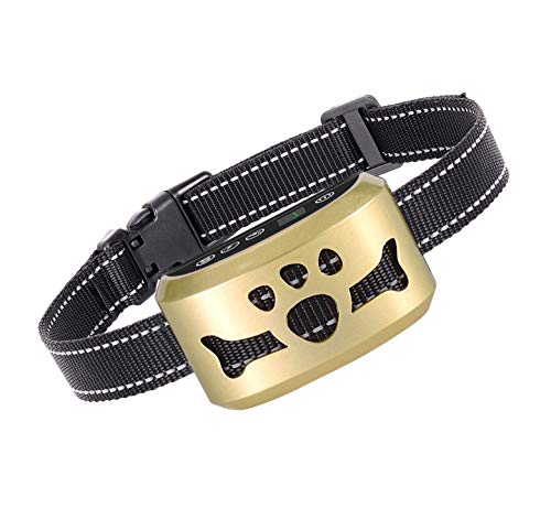 Dog No Bark Collar with Smart Detection Vibration and Harmless Shock- Rechargeable Anti Barking Device for Small Medium and Large Dog (Gold)
