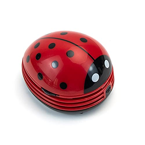 AUEAR, Mini Desk Vacuum Portable Table Cleaner Cute Ladybug Shaped Handheld Cordless Dust Sweeper Red