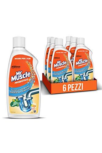 Mr Muscle Probiotico, Pulisce Scarichi e Rinfresca le Tubature con Agenti Probiotici, Profumo Fresh Citrus, Formato Scorta da 6 Pezzi da 500 ml