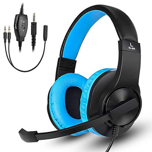 DIWUER Cascos Gaming, Auriculares Gaming para Ps4 Xbox One Nintendo Switch, con Sonido Envolvente y Reducción de Ruido, para iPad Cuaderno Computadora Teléfono Inteligente PC (Azul)