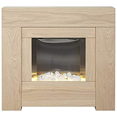 Adam Brooklyn Electric Fireplace Suite in Oak, 30 Inch