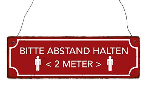 Interluxe houten bord - houd afstand houden (rood) - bord in retro-stijl als instructiebord voor afstandregeling in winkel, winkel, winkel, boutique, winkel, restaurant, bar, bar, bar, kassa in shabby retro-look