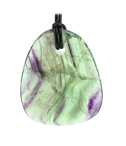 budawi® - Fluorit Regenbogenfluorit Anhänger Welle mit Lederband, Fluorit Kettenanhänger