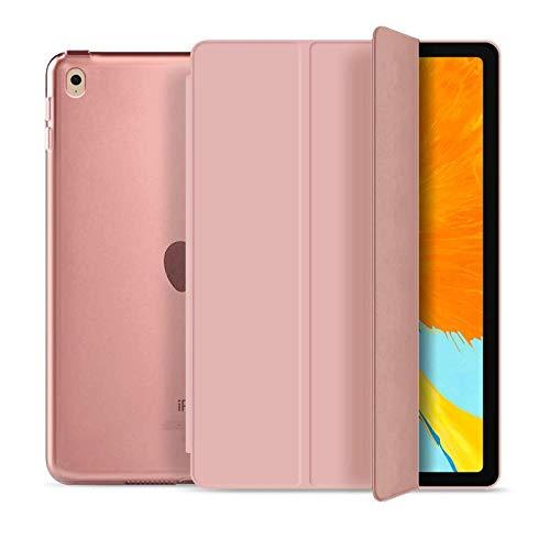 RKINC Case for Ipad Mini 1 2 3, PU Leather Trifold Stand Slim Fit Smart Cover [Auto Sleep/Wake] with Hard Back Case for Apple Ipad Mini 1, Mini 2, Mini 3(Rose Gold)