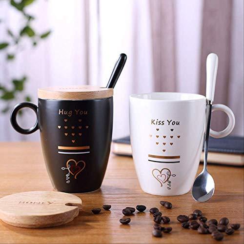 IWINO 380Ml keramiek zwart en wit bekerset pak paar creatieve office mok met deksel lepel bruiloft partner hand cadeau 301-400ml Kameel