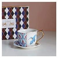 陶器 個性 マグカップ Mugs コーヒーカップ ギフト食器 サーモスタンブラー セラミックオフィスのコーヒーカップパーソナライズされた白い磁器塗られた茶碗とソーサーセット、小さな鳥の箱 大容量 贈り物 人気 景品 贈答品 男性 女性 (Color : Little Bird Boxed)
