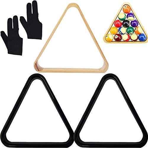 Binjor 3Pcs Billard-Triangel aus Massivholz Dreieck Pool Ball Rack aus Kunststoff Billardtisch Ballhalter Positionierung Rack mit 2 Glatt Billard-Handschuhe 3 Finger